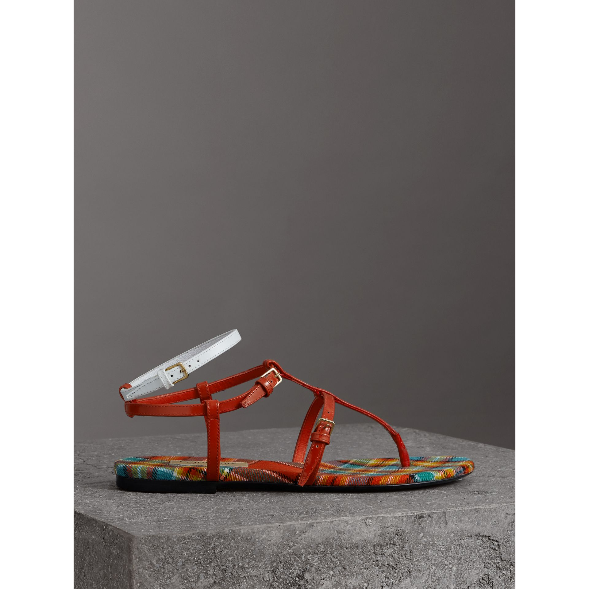 Vintage Check and Leather Sandals in Orange Red - Women | Burberry - gallery image 4