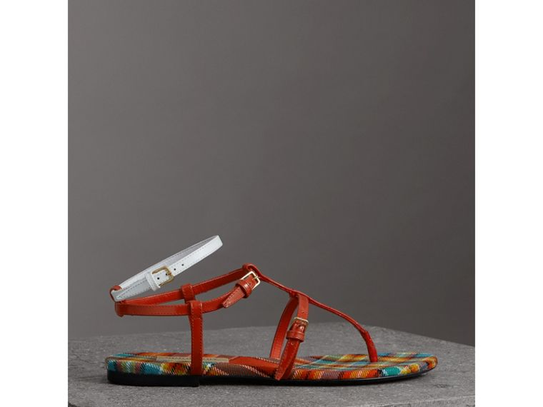 Vintage Check and Leather Sandals in Orange Red - Women | Burberry - cell image 4