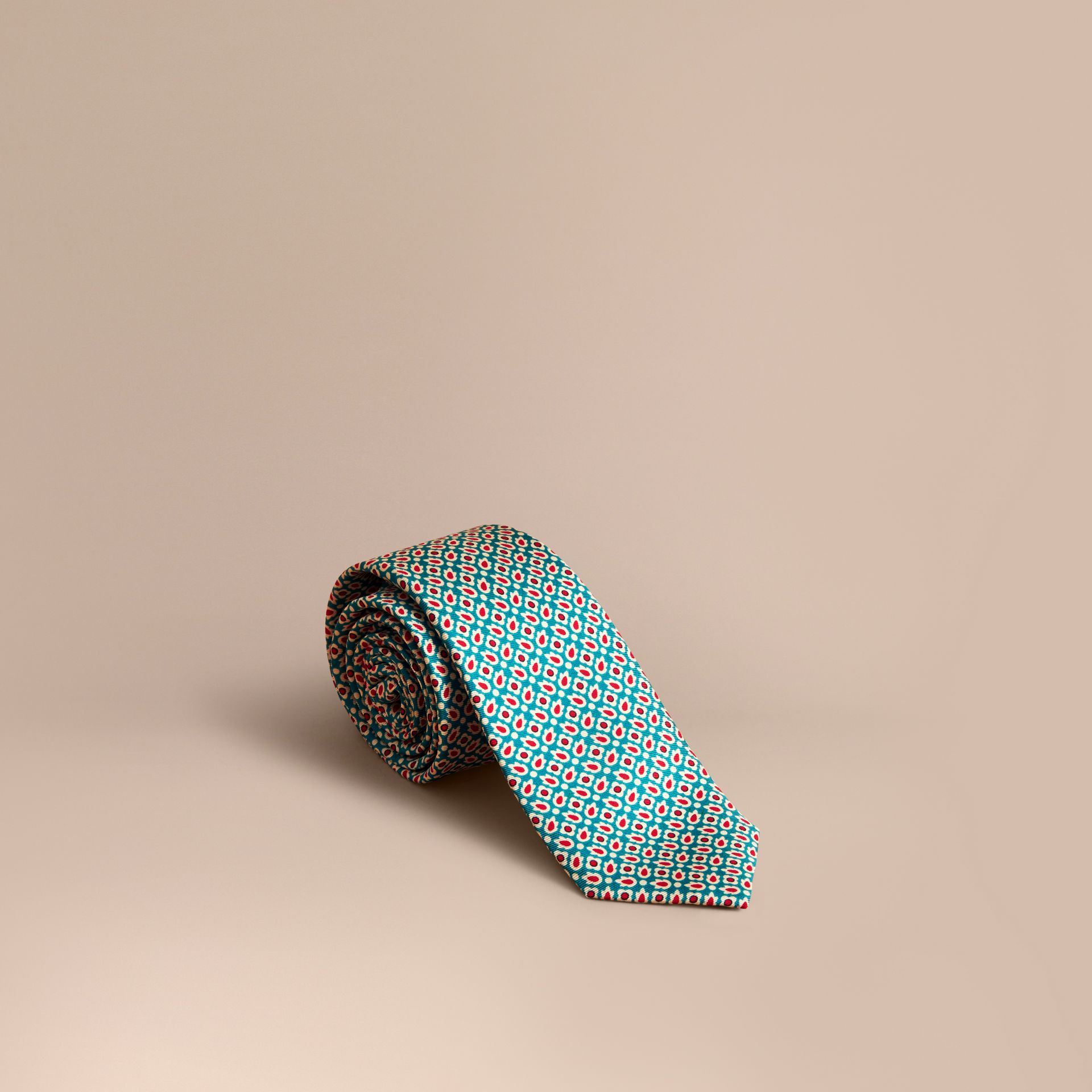Slim Cut Abstract Floral Silk Tie in Mineral Green - Men | Burberry - gallery image 0