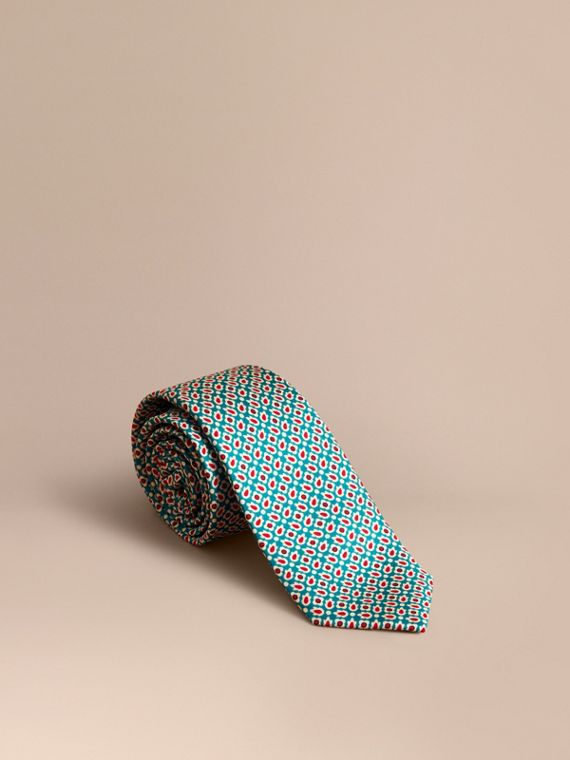 Slim Cut Abstract Floral Silk Tie in Mineral Green - Men | Burberry