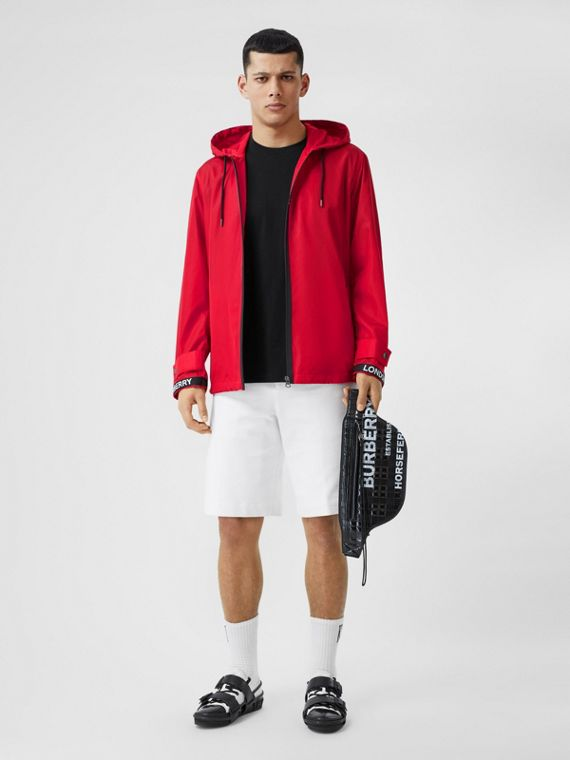 Logo Tape ECONYL® Hooded Jacket in Bright Red