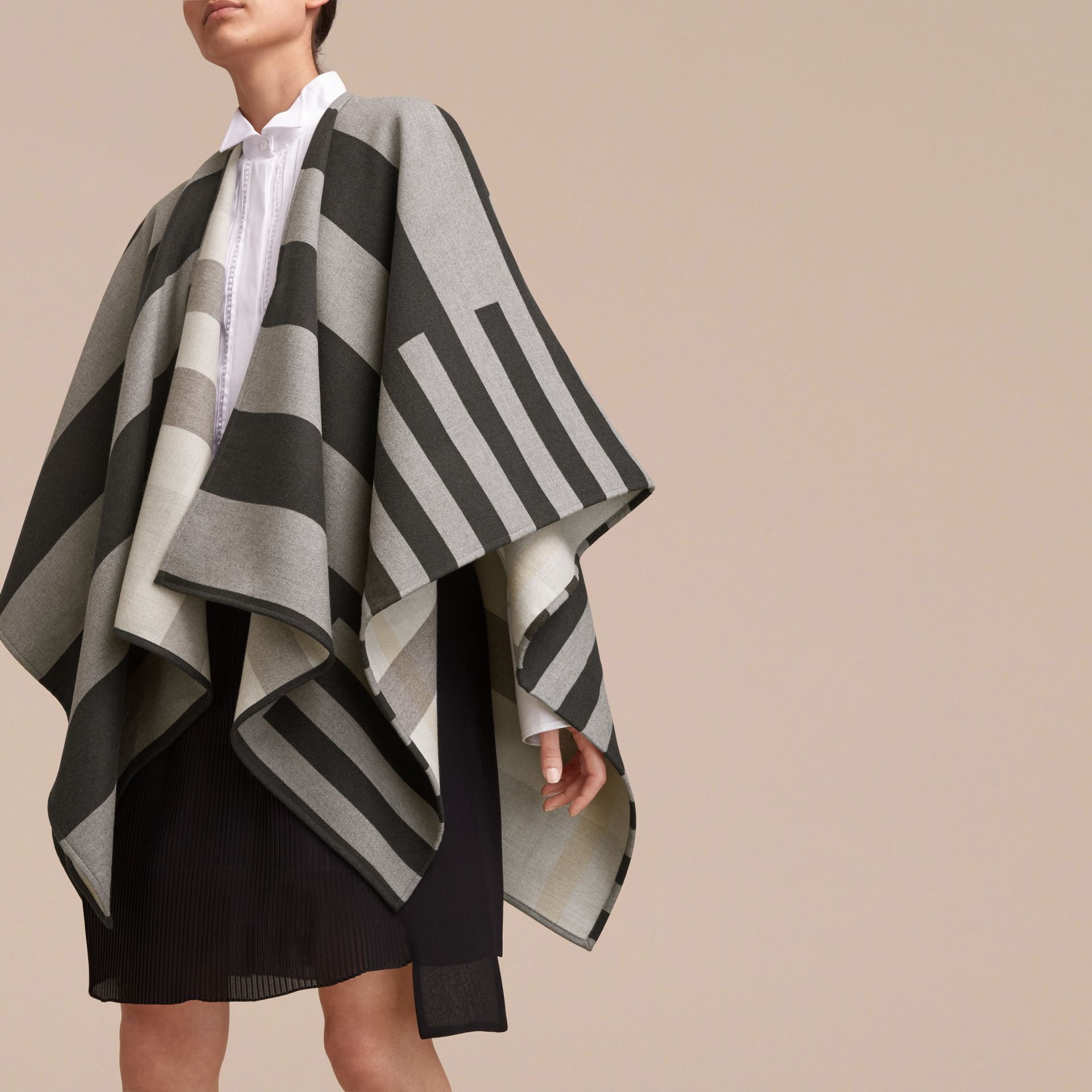 Reversible Stripe and Check Merino Wool Poncho in Grey - Women | Burberry Canada - gallery image 5