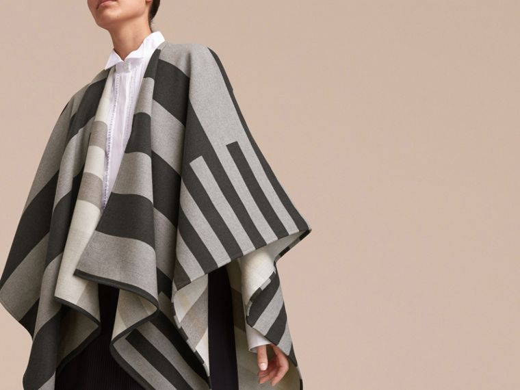 Reversible Stripe and Check Merino Wool Poncho in Grey - Women | Burberry - cell image 4