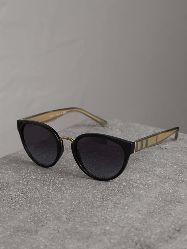 Check Detail Cat-eye Frame Sunglasses in Black - Women | Burberry United States - cell image 2