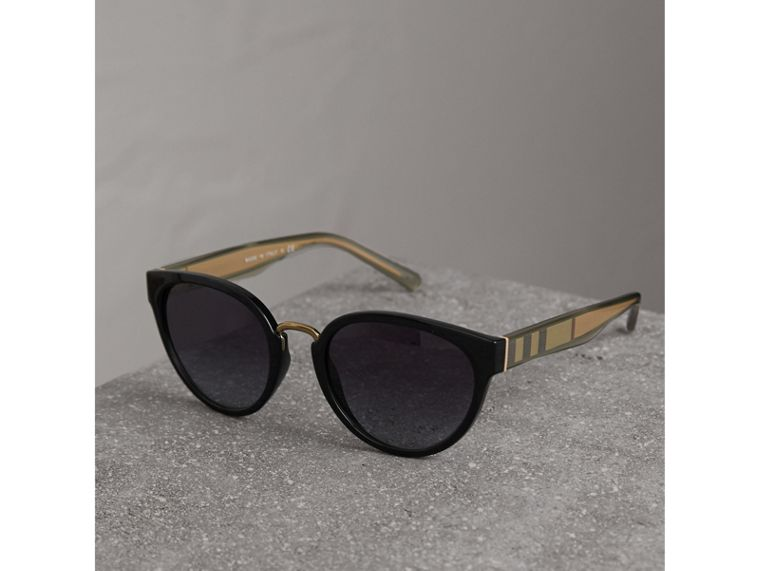 Check Detail Cat-eye Frame Sunglasses in Black - Women | Burberry United Kingdom - cell image 2
