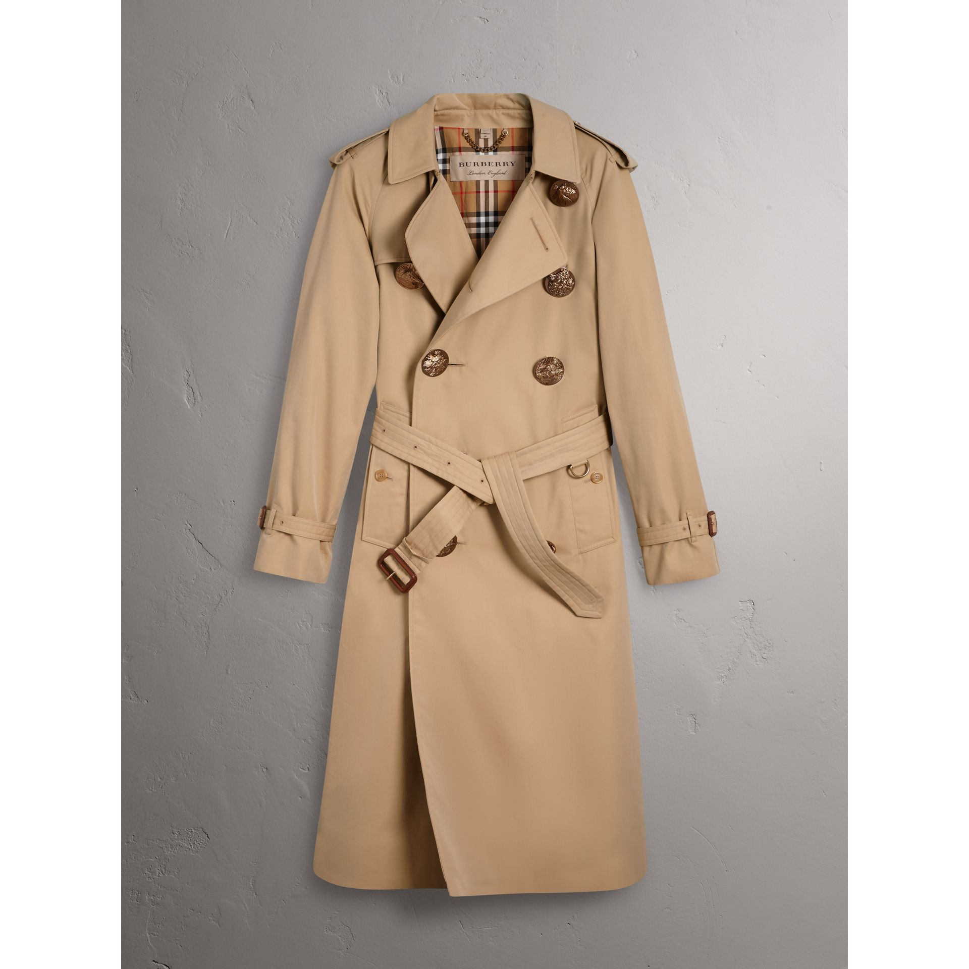 Bird Button Cotton Gabardine Trench Coat in Honey - Men | Burberry Singapore - gallery image 3