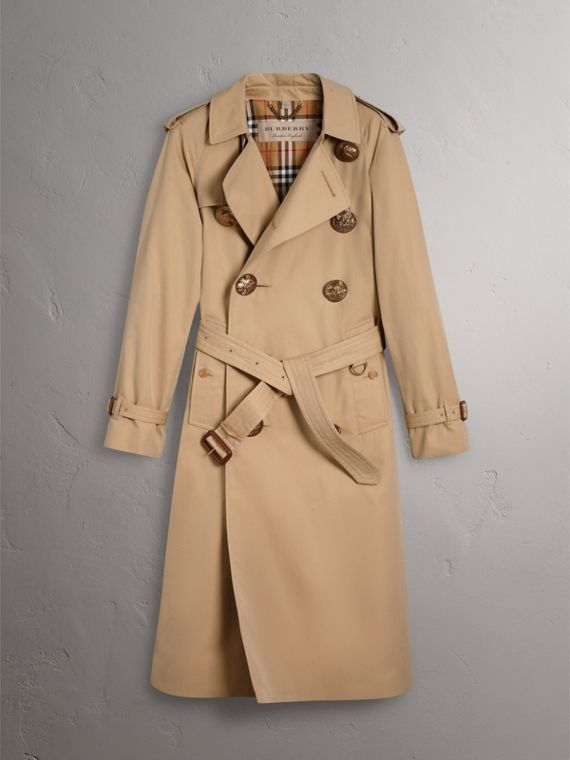 Bird Button Cotton Gabardine Trench Coat in Honey - Men | Burberry Singapore - cell image 3