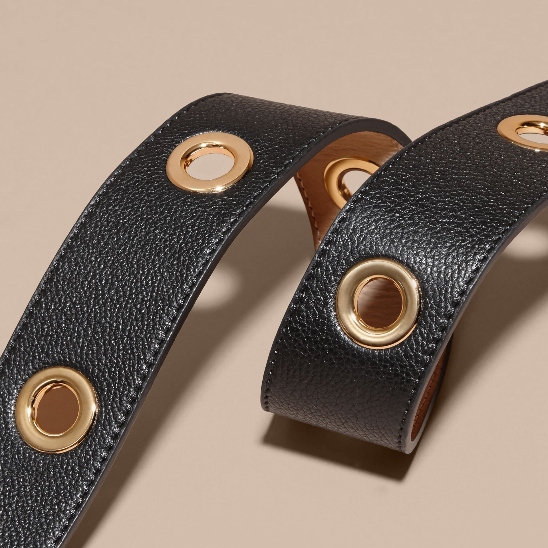 Black Eyelet Detail Grainy Leather Belt Black - gallery image 2