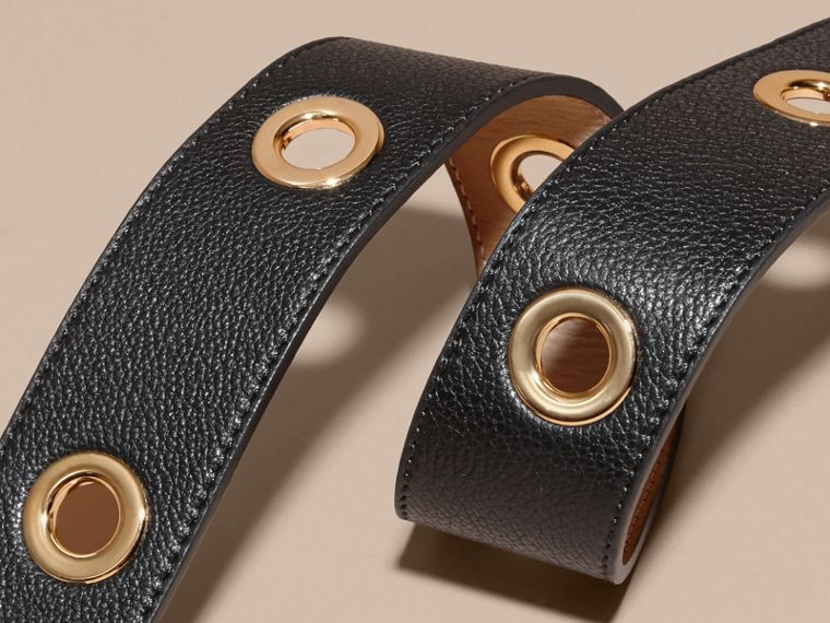 Black Eyelet Detail Grainy Leather Belt Black - cell image 1