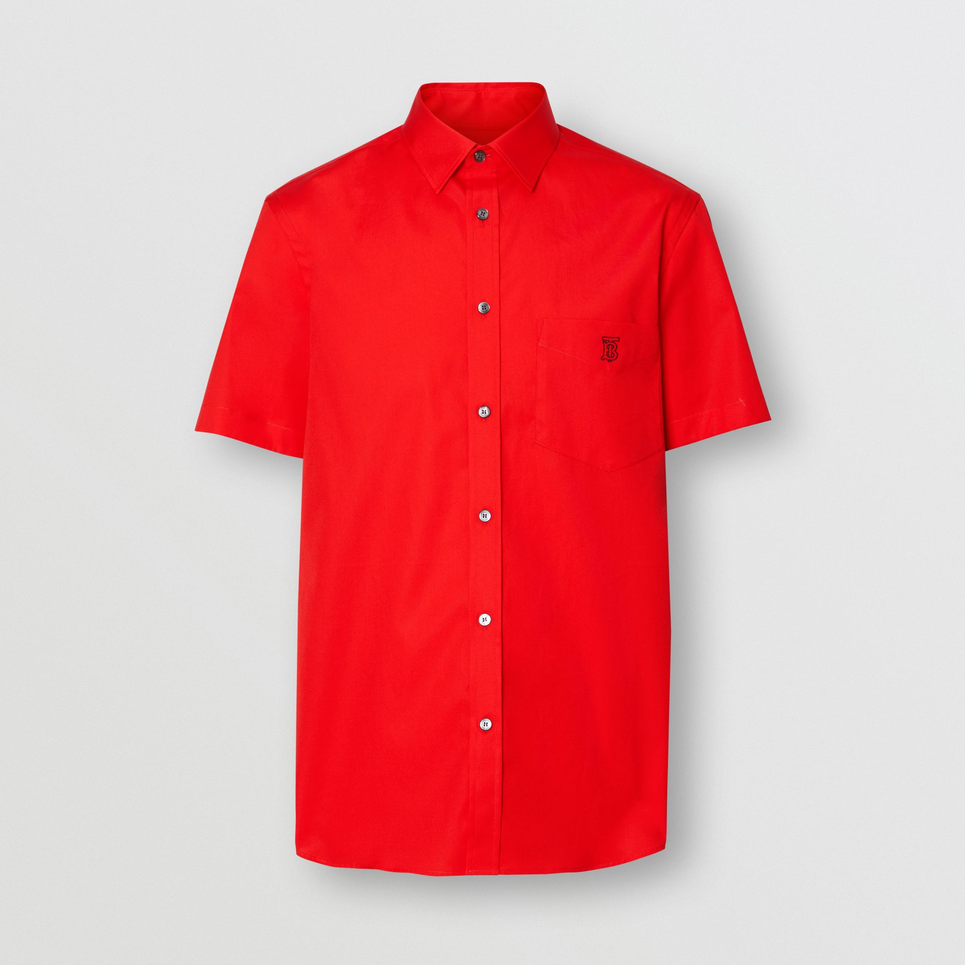 Short-sleeve Monogram Motif Stretch Cotton Shirt in Bright Red - Men | Burberry - gallery image 3