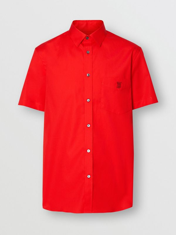 Short-sleeve Monogram Motif Stretch Cotton Shirt in Bright Red - Men | Burberry - cell image 3