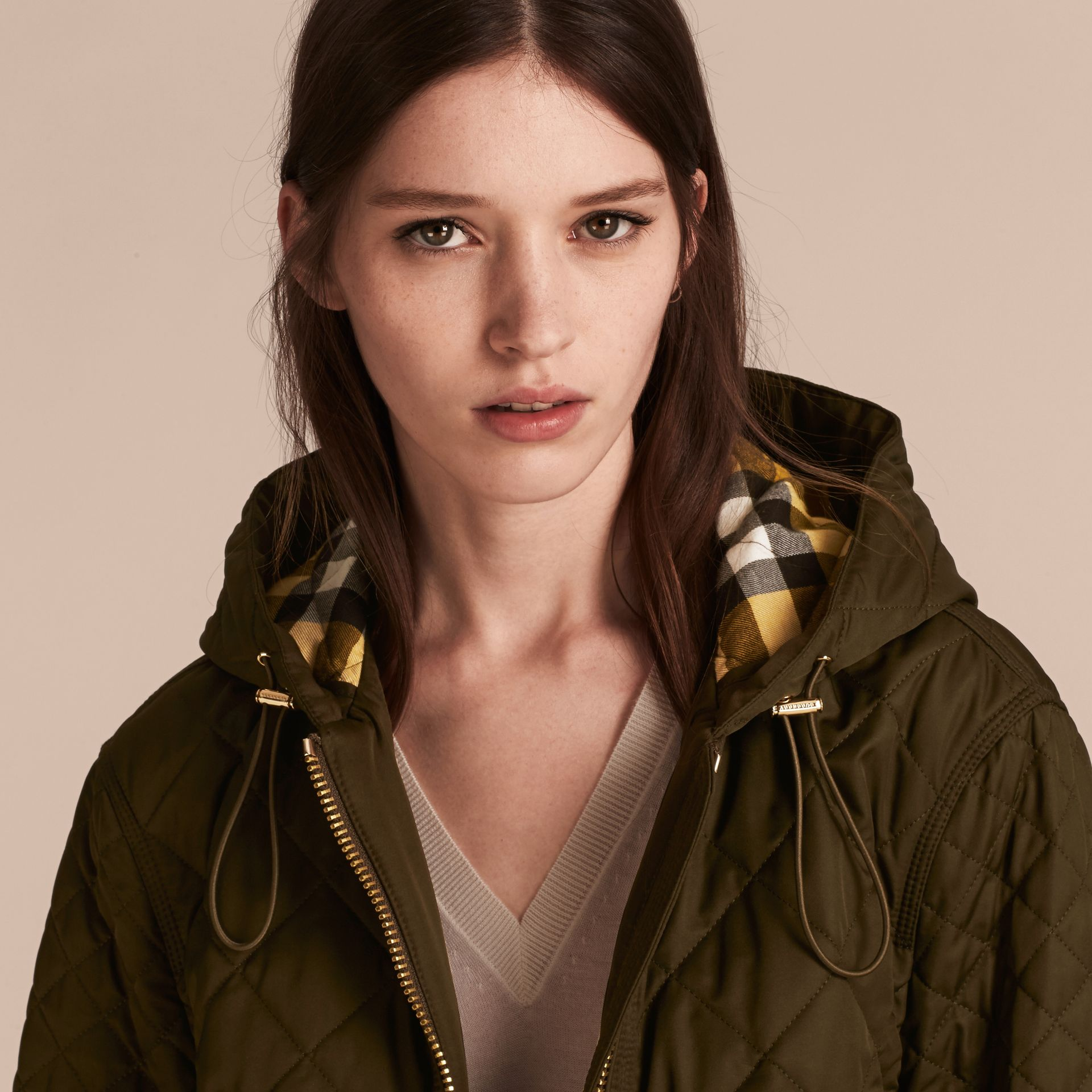 Diamond Quilted Hooded Jacket with Check Lining Dark Olive - gallery image 5