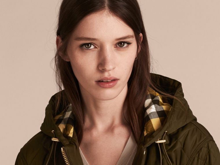 Diamond Quilted Hooded Jacket with Check Lining Dark Olive - cell image 4