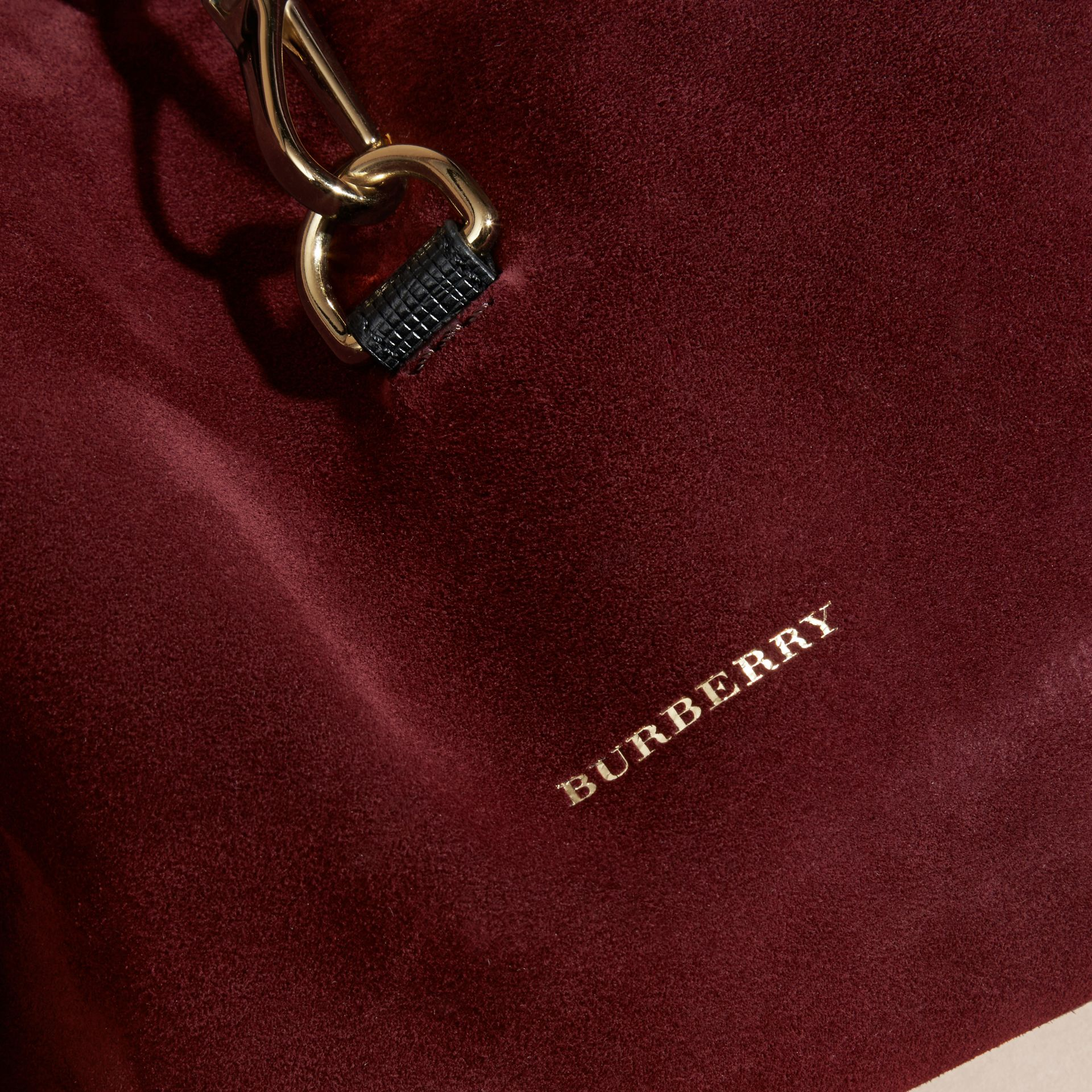 Mahogany red English Suede and House Check Shoulder Bag - gallery image 2