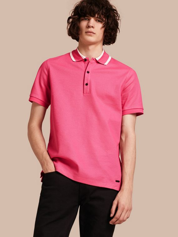 Polo in cotone piqué con colletto a righe Rosa Cremisi Intenso