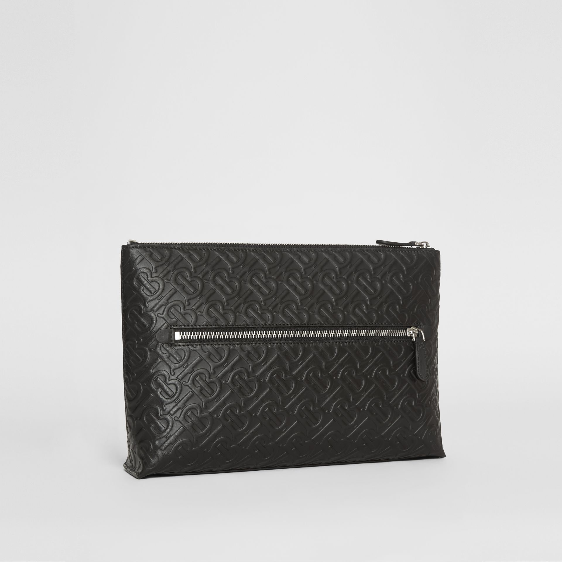 Monogram Leather Zip Pouch in Black - Men | Burberry Canada - gallery image 5