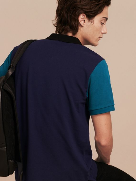 Indigo Colour-block Cotton Piqué Polo Shirt Indigo - cell image 2