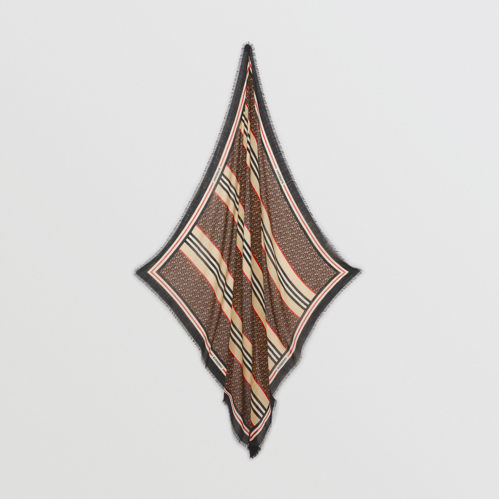 Icon Stripe Monogram Print Wool Silk Square Large Scarf in Dark Mocha | Burberry Australia - gallery image 4