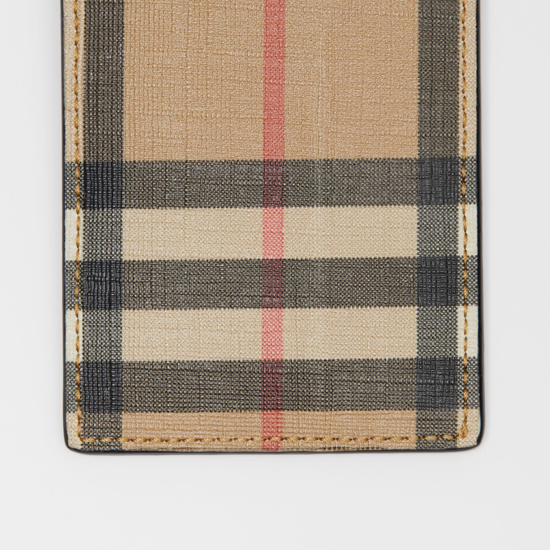 Vintage Check E-canvas and Leather Card Case in Archive Beige - Men | Burberry Singapore - gallery image 1