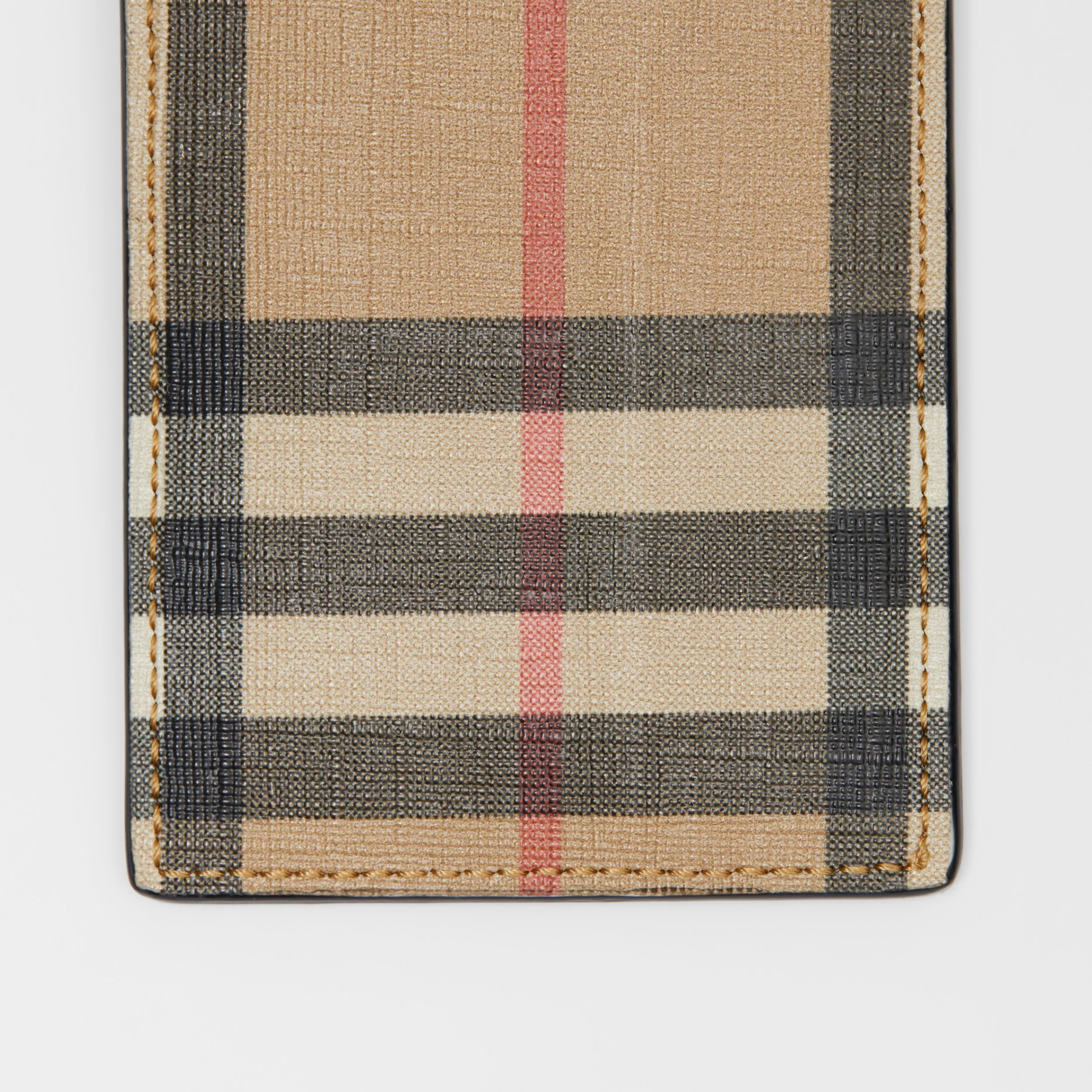 Vintage Check E-canvas and Leather Card Case in Archive Beige - Men | Burberry - 2