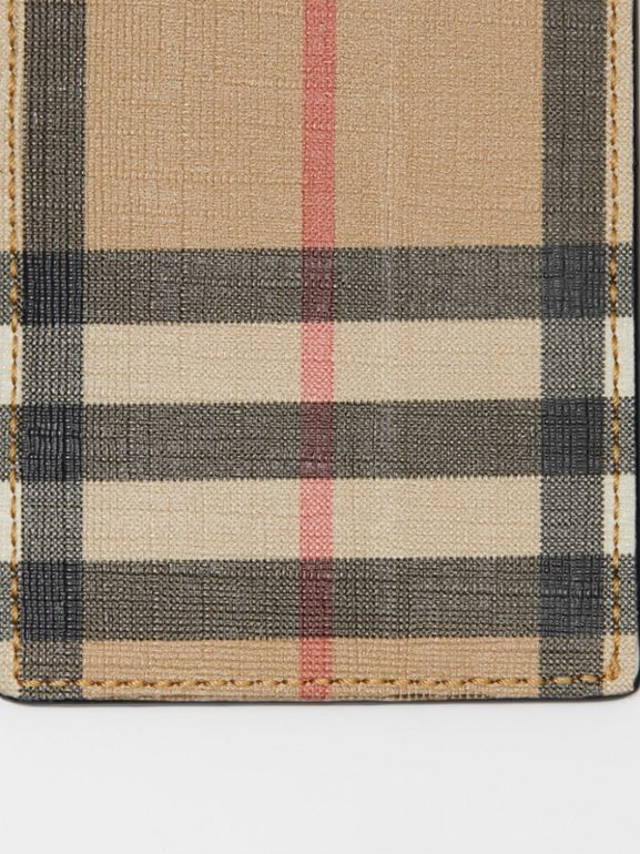 Vintage Check E-canvas and Leather Card Case in Archive Beige - Men | Burberry Singapore - cell image 1