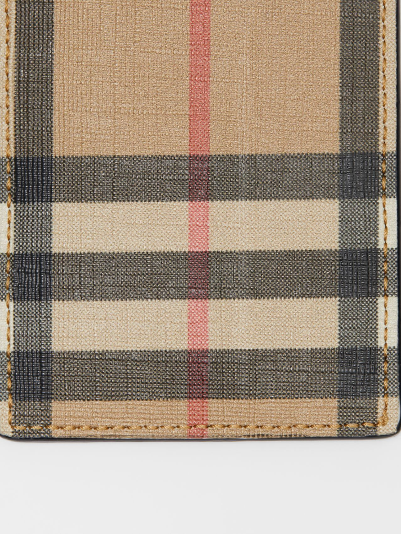 Vintage Check E-canvas and Leather Card Case in Archive Beige