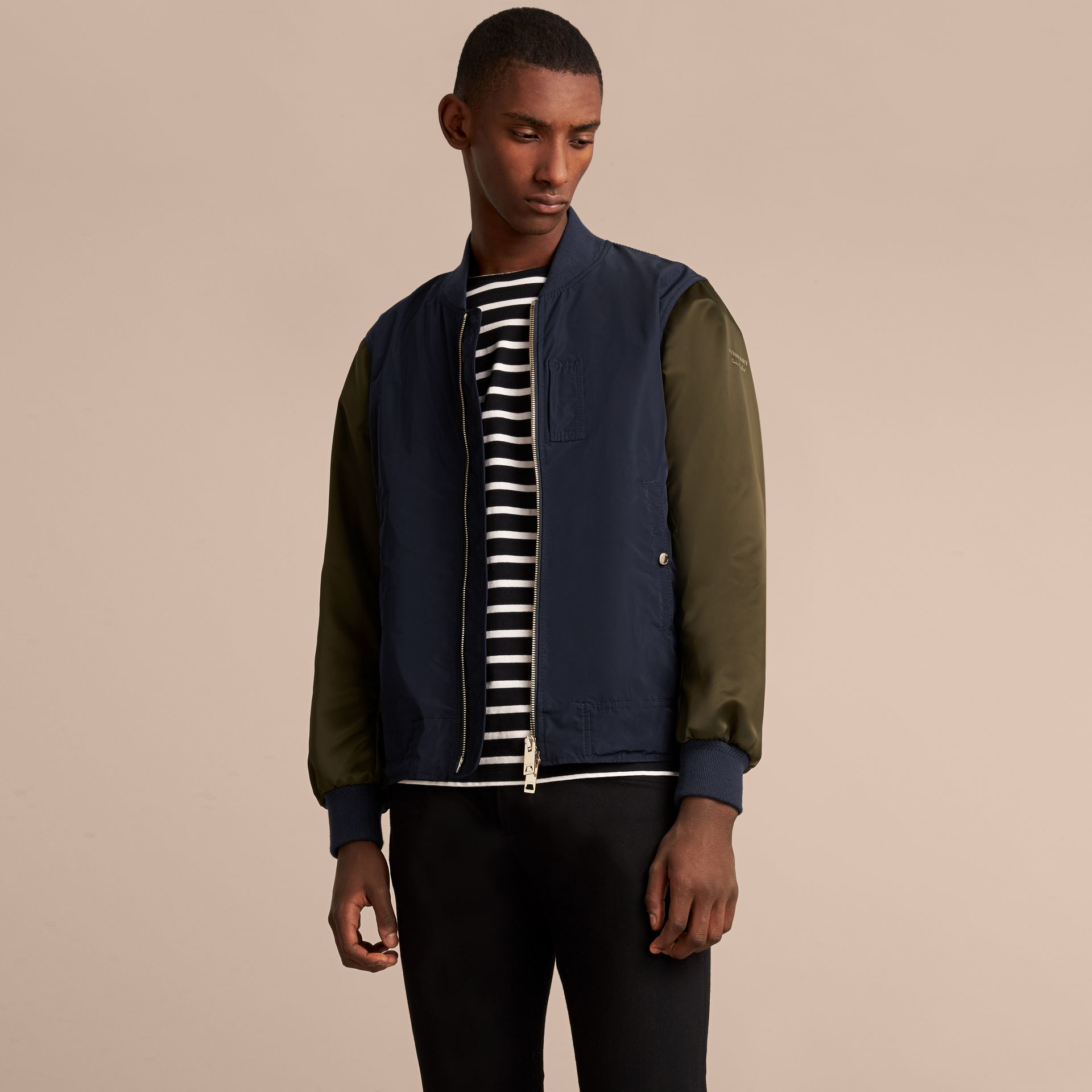 Two-tone Shape-memory Taffeta Bomber Jacket in Ink - Men | Burberry - gallery image 6