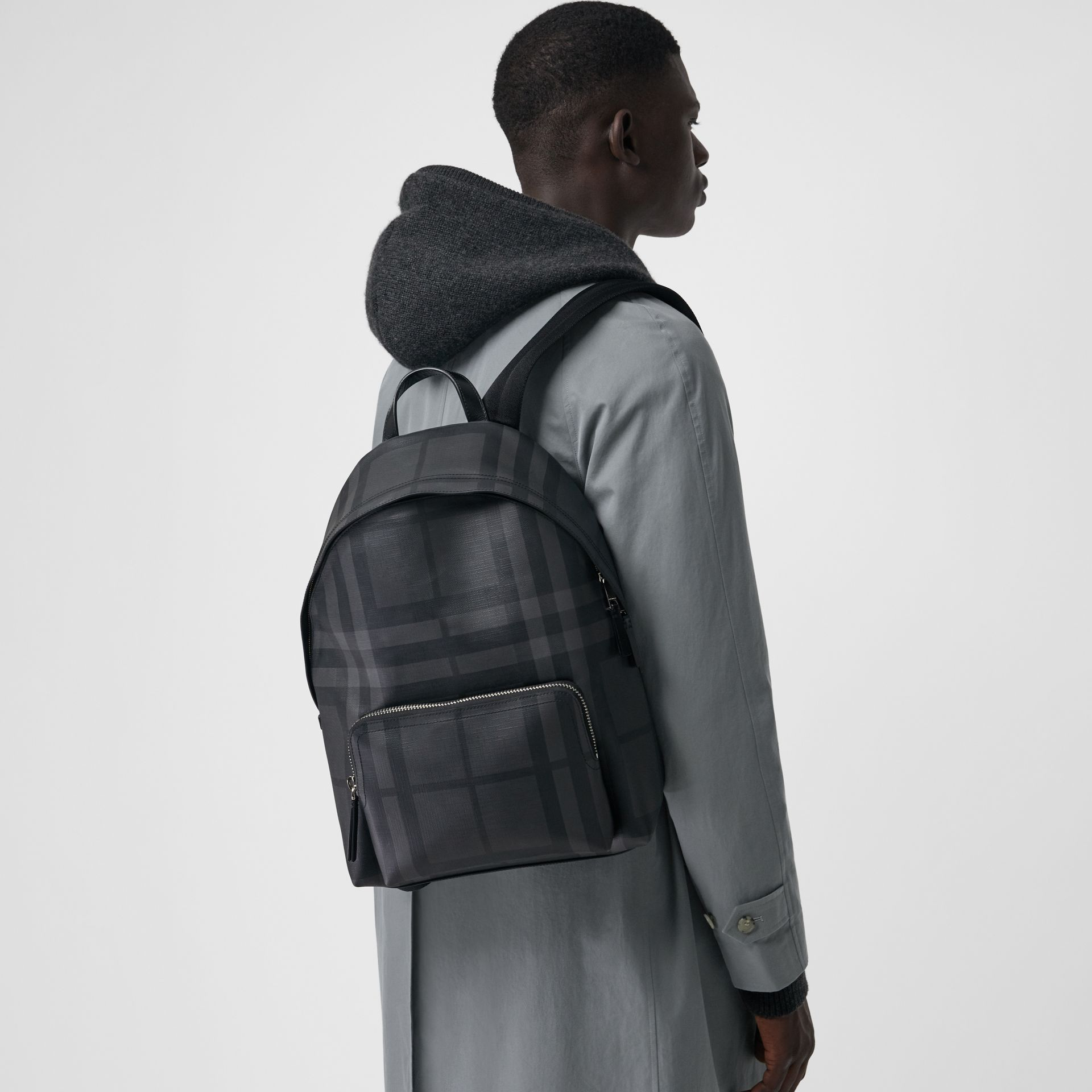 Leather Trim London Check Backpack in Charcoal/black - Men | Burberry Canada - gallery image 2