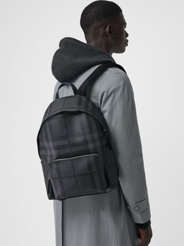 Leather Trim London Check Backpack in Charcoal/black - Men | Burberry Canada - cell image 2
