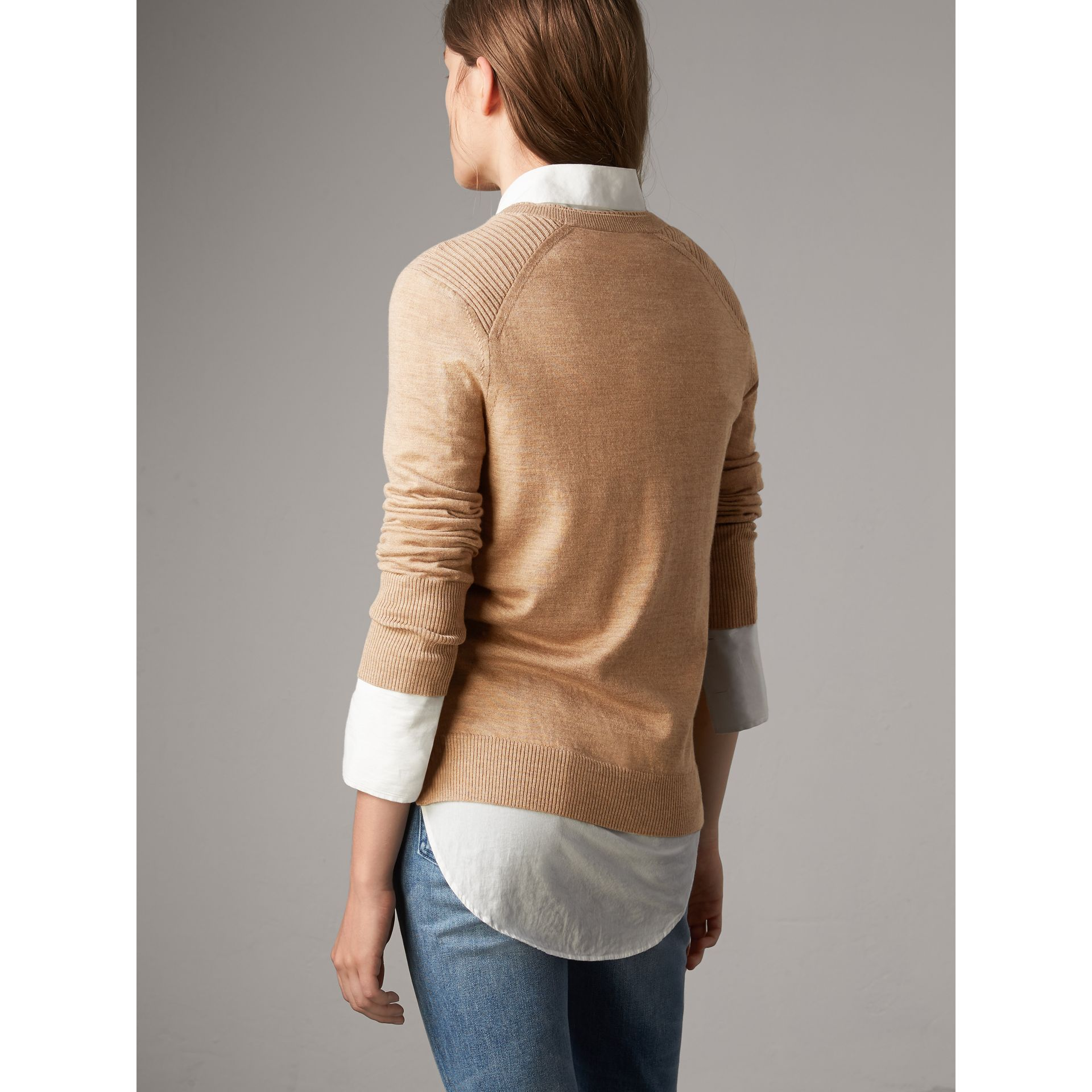 Check Detail Merino Wool Sweater in Camel - Women | Burberry - gallery image 3