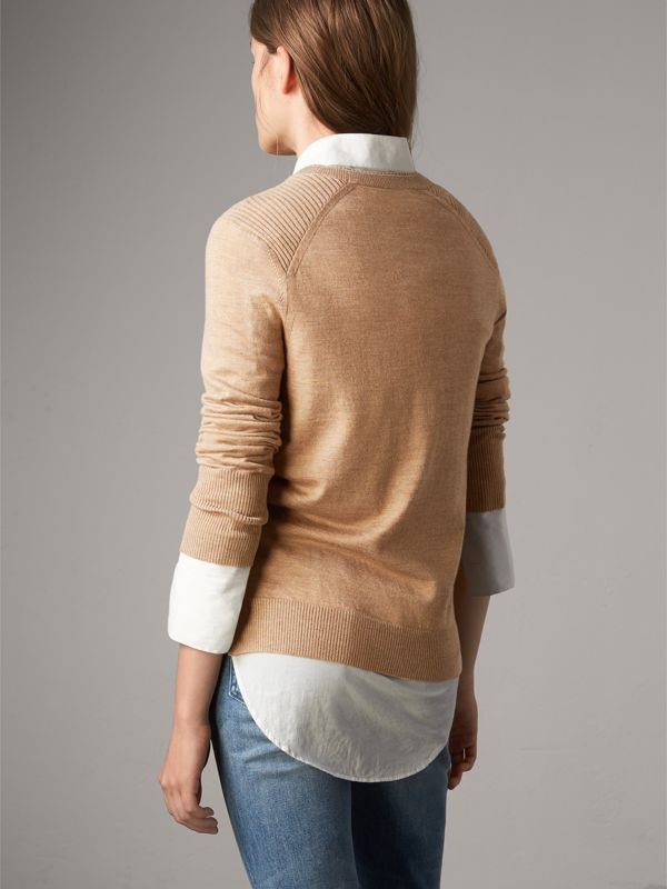 Check Detail Merino Wool Sweater in Camel - Women | Burberry United Kingdom - cell image 2