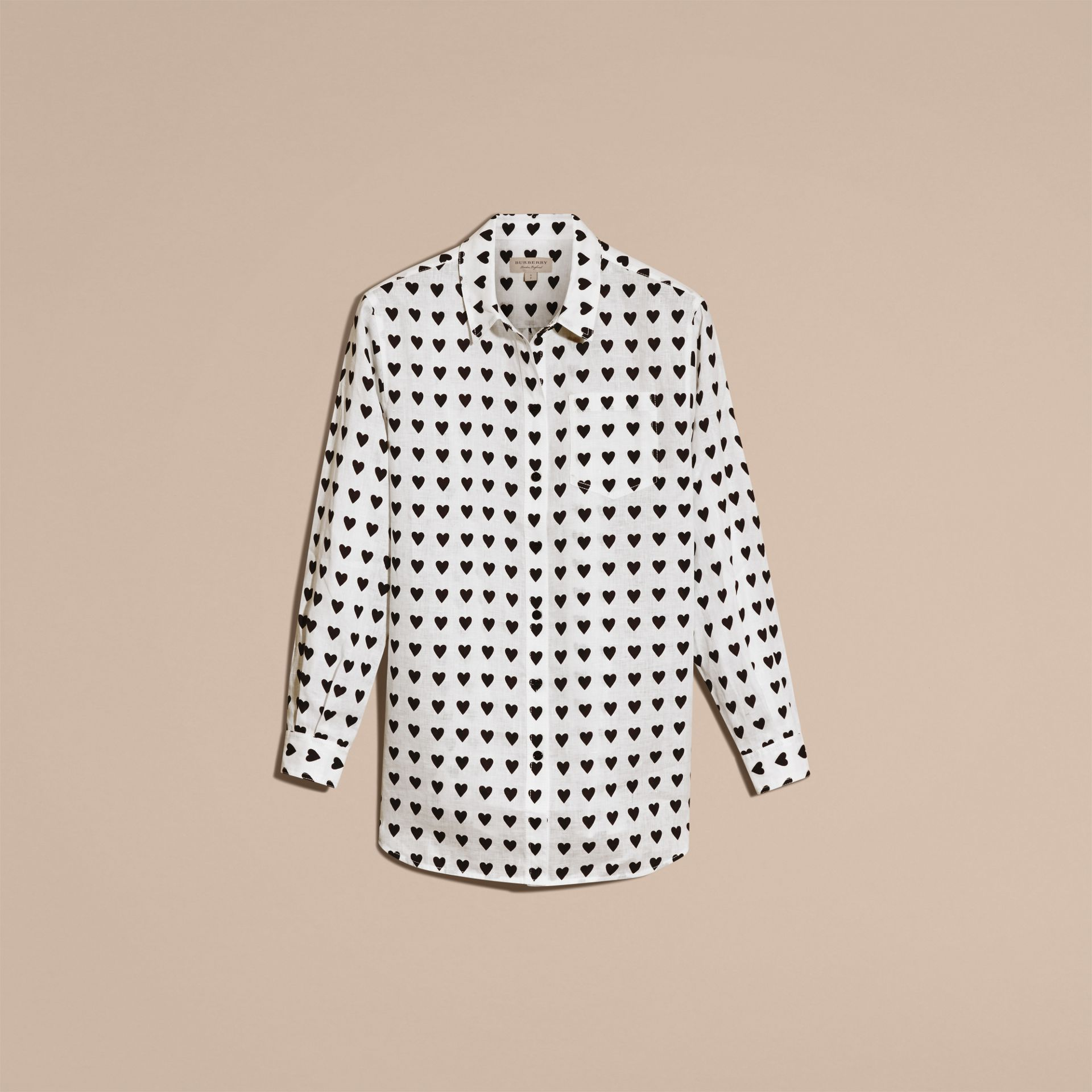 Heart Print Linen Shirt in Natural White - Women | Burberry - gallery image 4