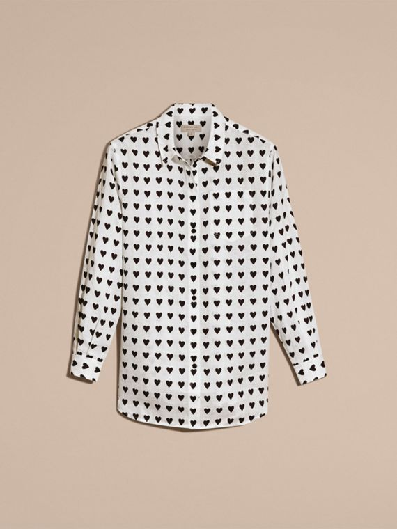 Heart Print Linen Shirt in Natural White - cell image 3