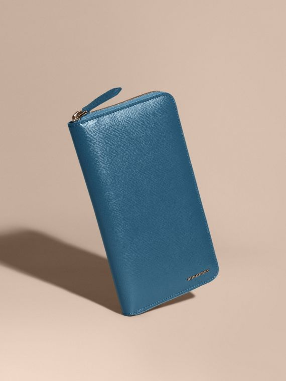 London Leather Ziparound Wallet in Mineral Blue