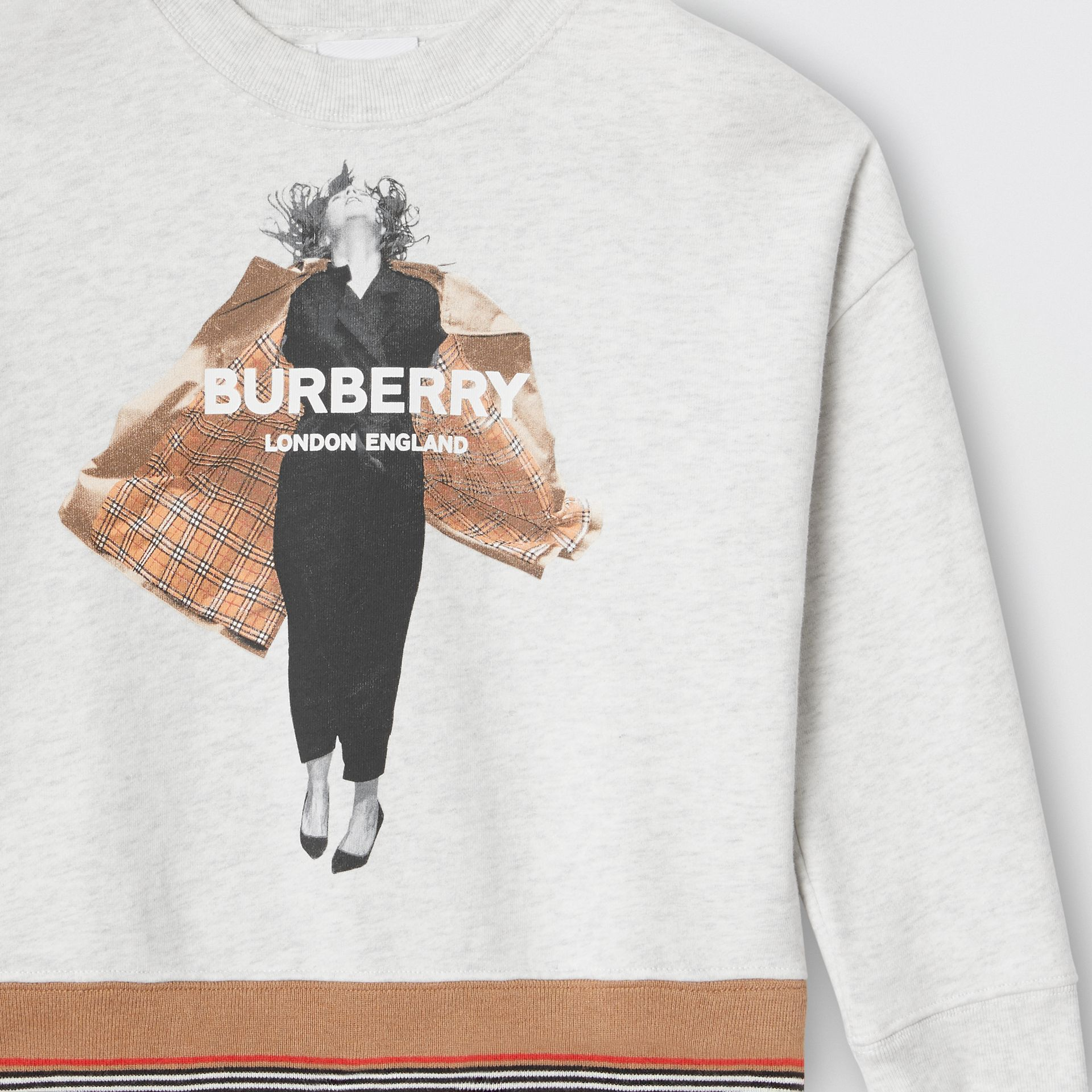 Jump Print Cotton Sweatshirt in White Melange | Burberry United Kingdom - gallery image 4