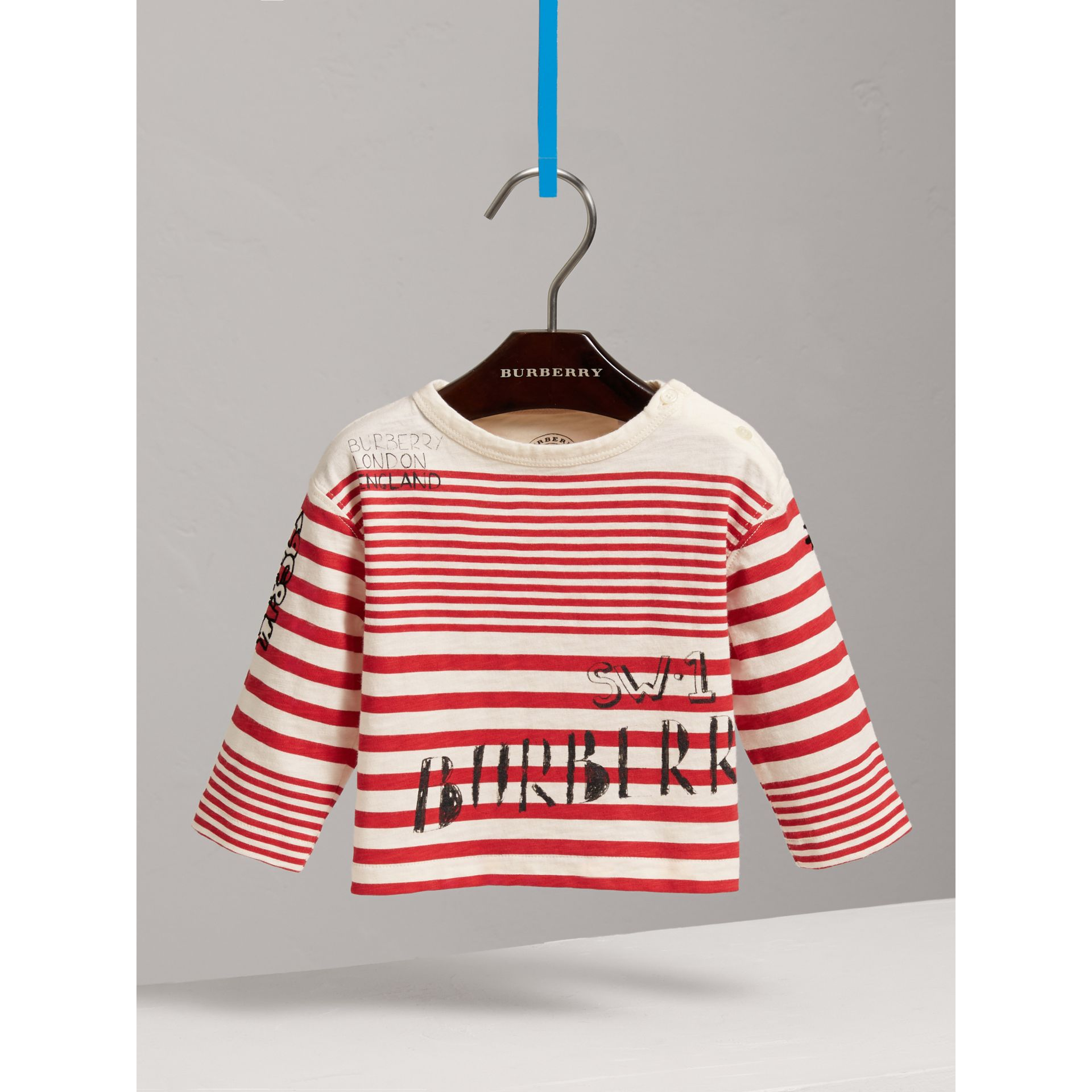 Long-sleeve SW1 Print Cotton Top in Bright Red/natural White | Burberry Hong Kong - gallery image 2