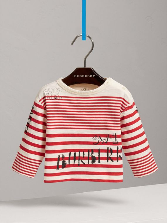 Long-sleeve SW1 Print Cotton Top in Bright Red/natural White | Burberry - cell image 2