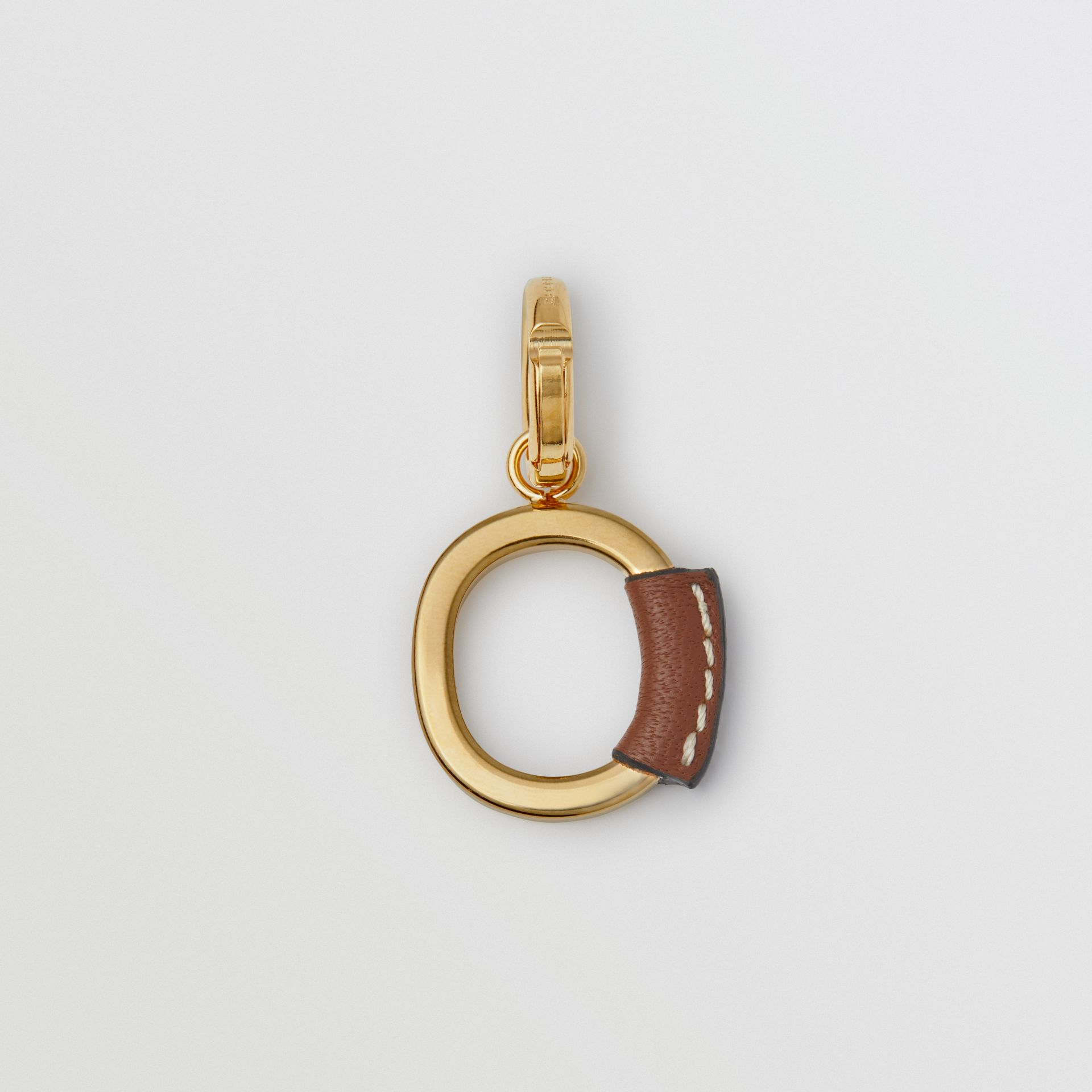 Leather-wrapped 'O' Alphabet Charm in Light Gold/tan - Women | Burberry Australia - gallery image 3