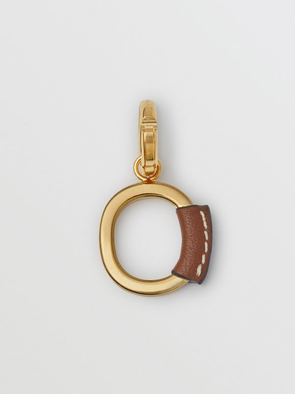 Leather-wrapped 'O' Alphabet Charm in Light Gold/tan - Women | Burberry Australia - cell image 3