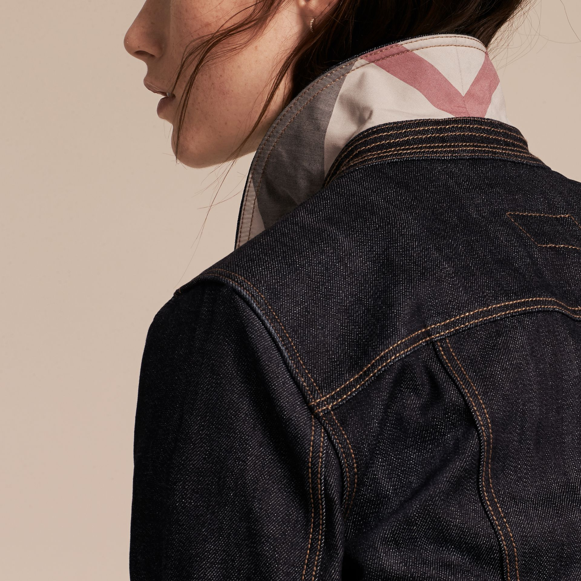 Indigo Japanese Stretch Selvedge Denim Jacket - gallery image 5