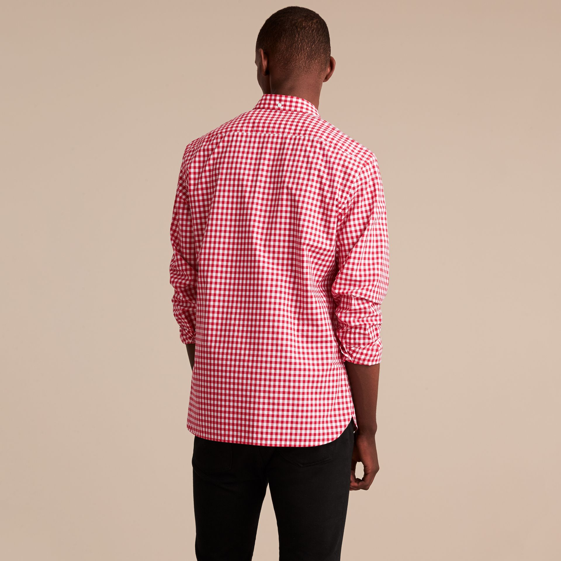 Button-down Collar Gingham Cotton Shirt Parade Red - gallery image 3