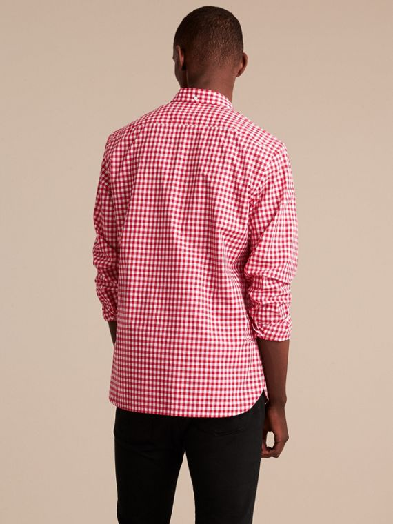 Button-down Collar Gingham Cotton Shirt Parade Red - cell image 2