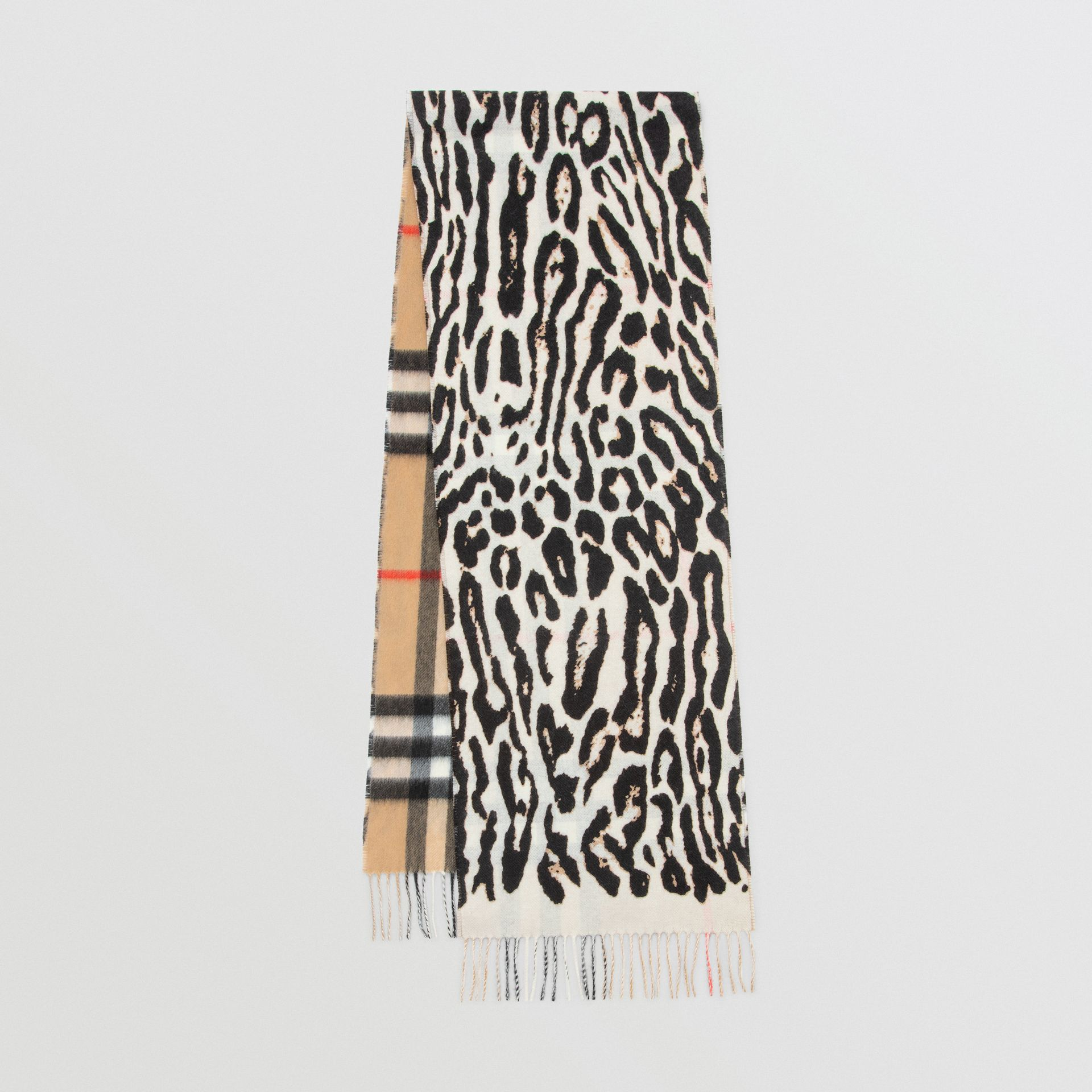 Leopard Print and Check Cashmere Scarf in Black | Burberry - gallery image 0