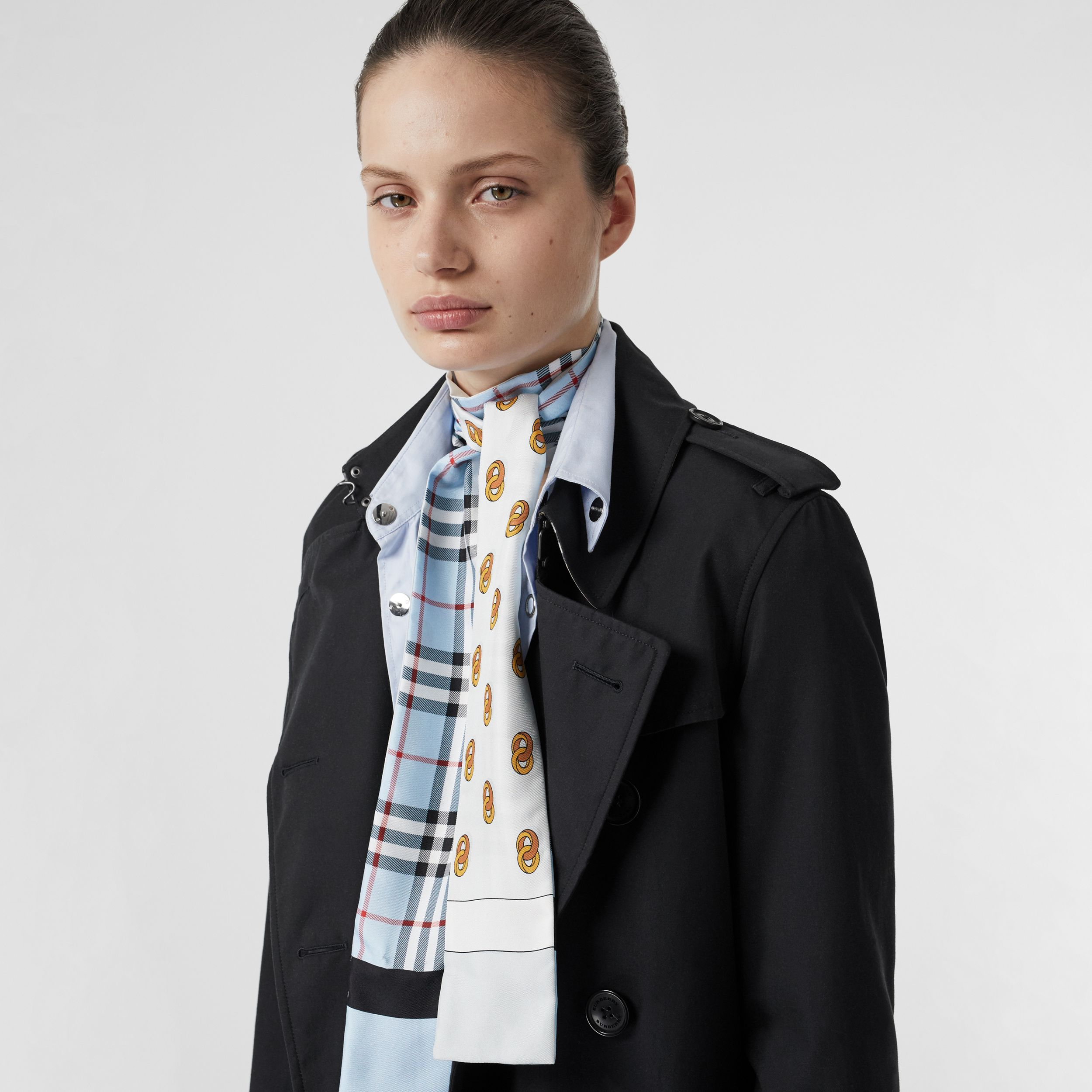 Vintage Check and Link Print Silk Skinny Scarf in Pale Blue - Women | Burberry - 3