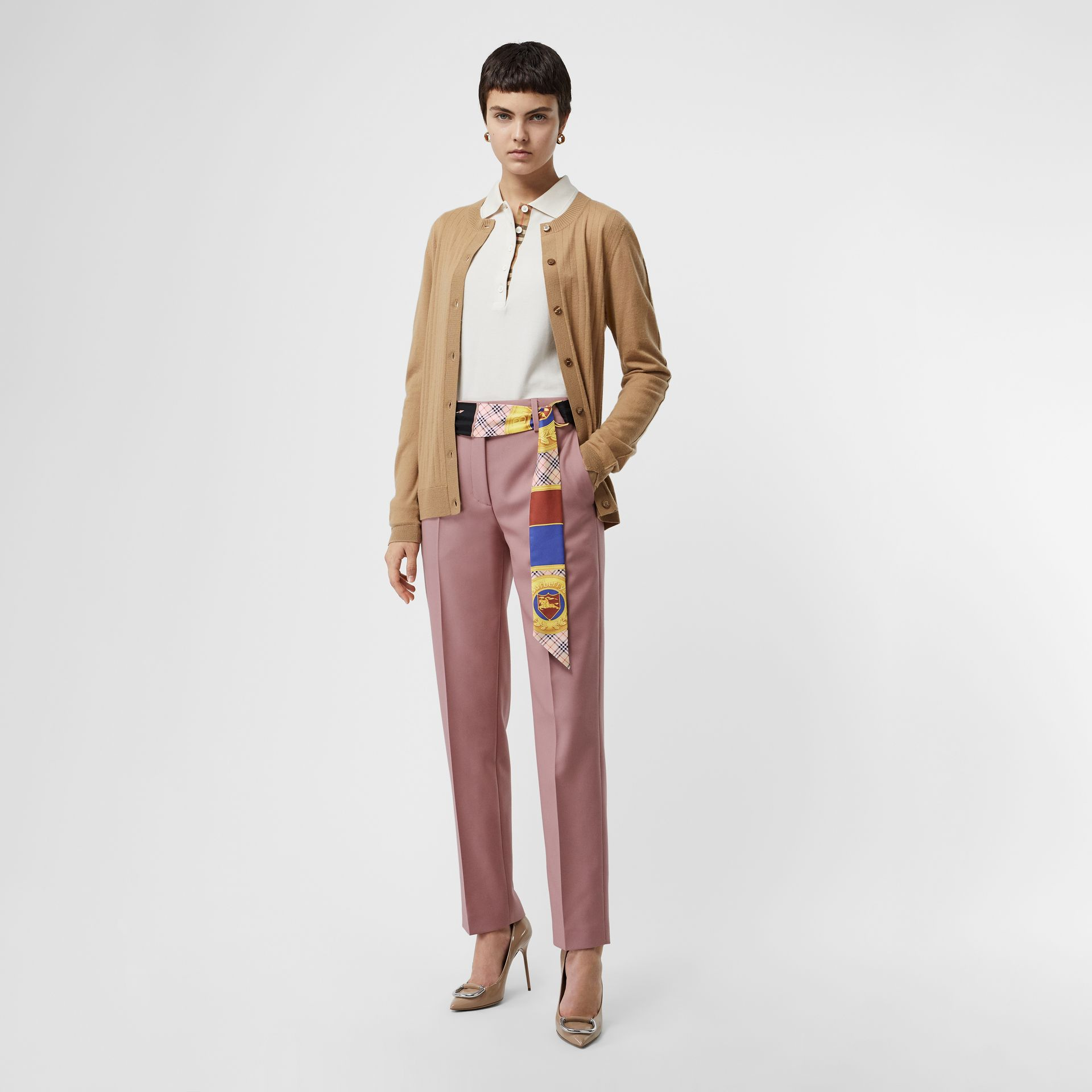 D-ring Detail Archive Print Silk Skinny Scarf in Multicolour | Burberry - gallery image 5