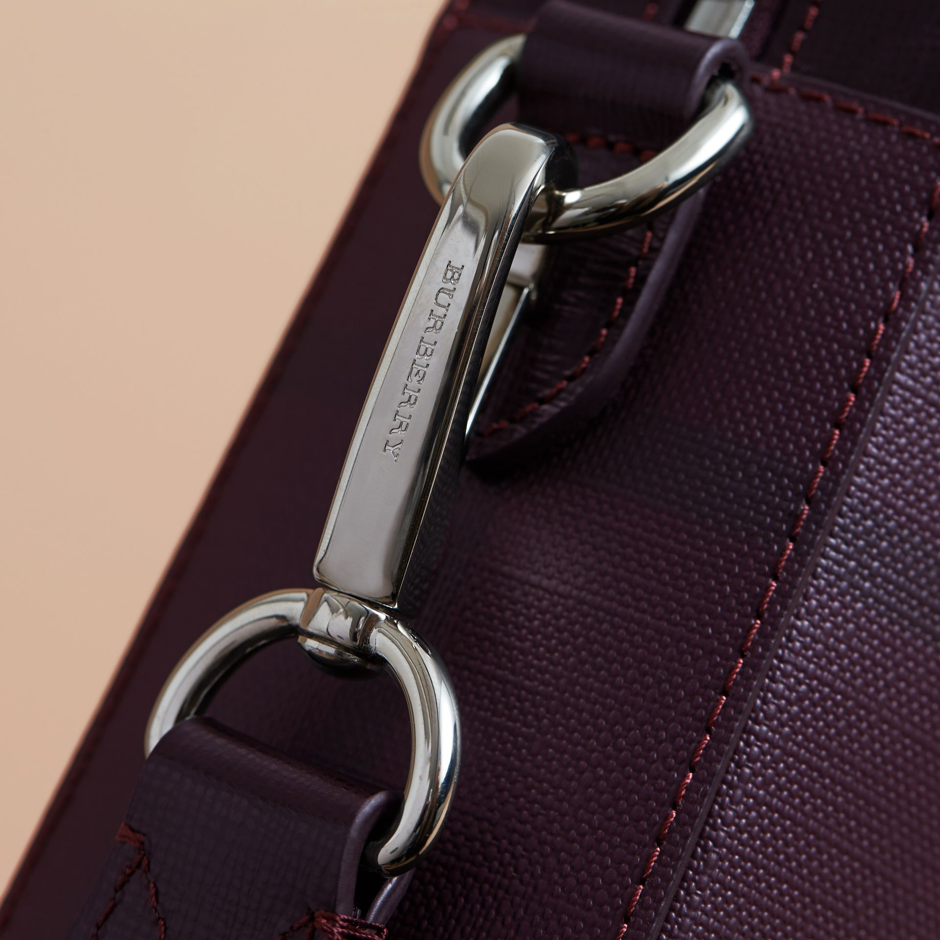 Medium Leather Trim London Check Briefcase in Deep Claret - Men | Burberry Singapore - gallery image 2