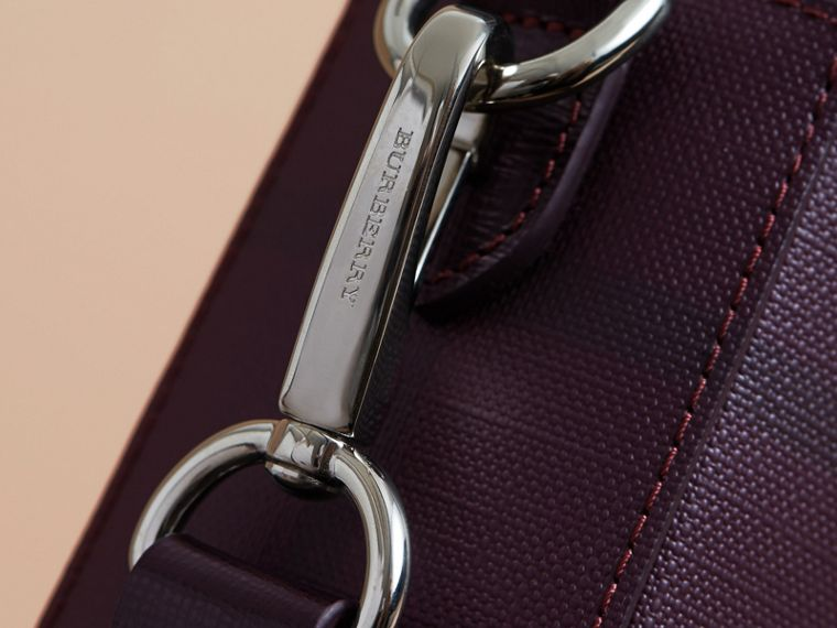 Medium Leather Trim London Check Briefcase in Deep Claret - Men | Burberry - cell image 1