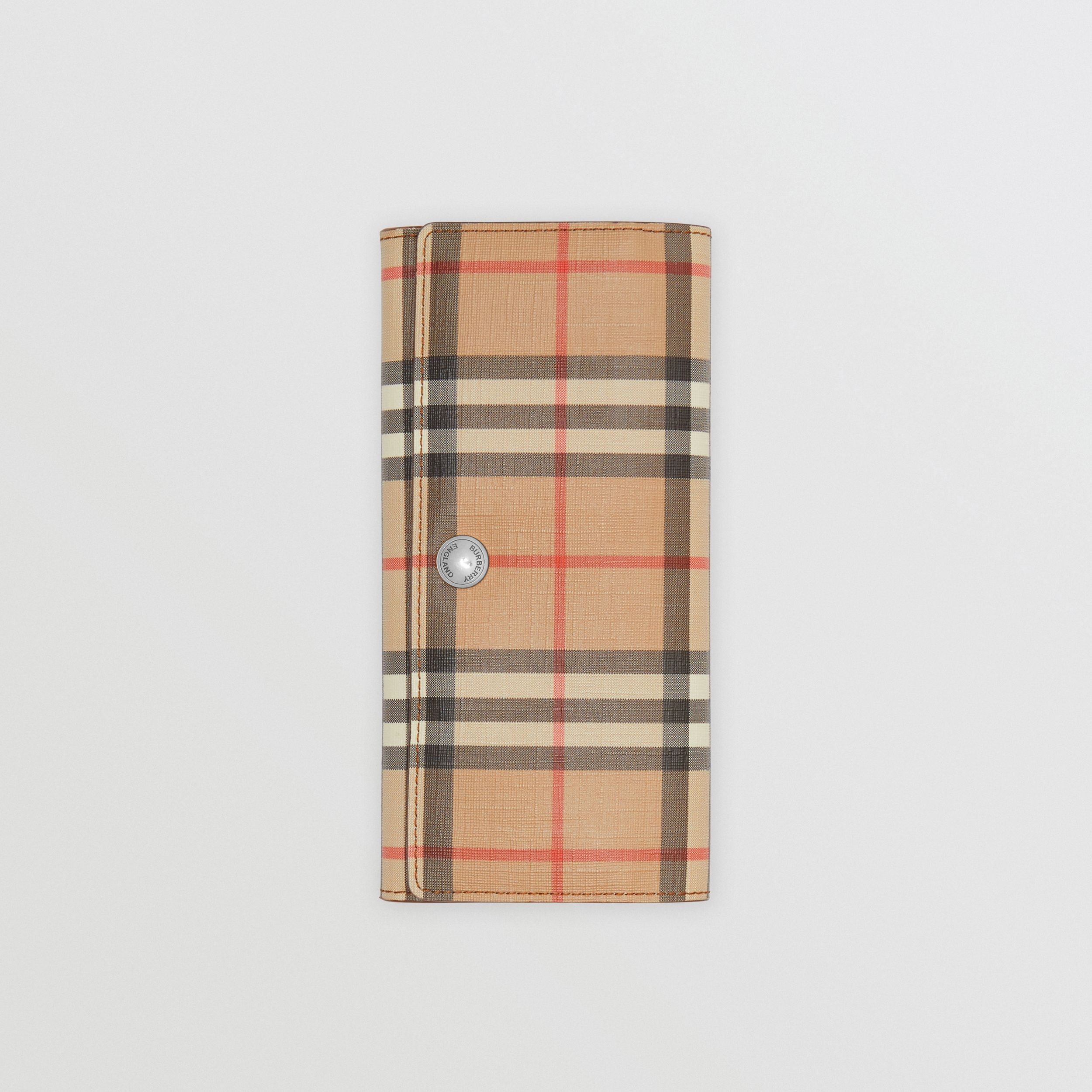 Vintage Check and Leather Continental Wallet in Malt Brown - Women | Burberry - 4