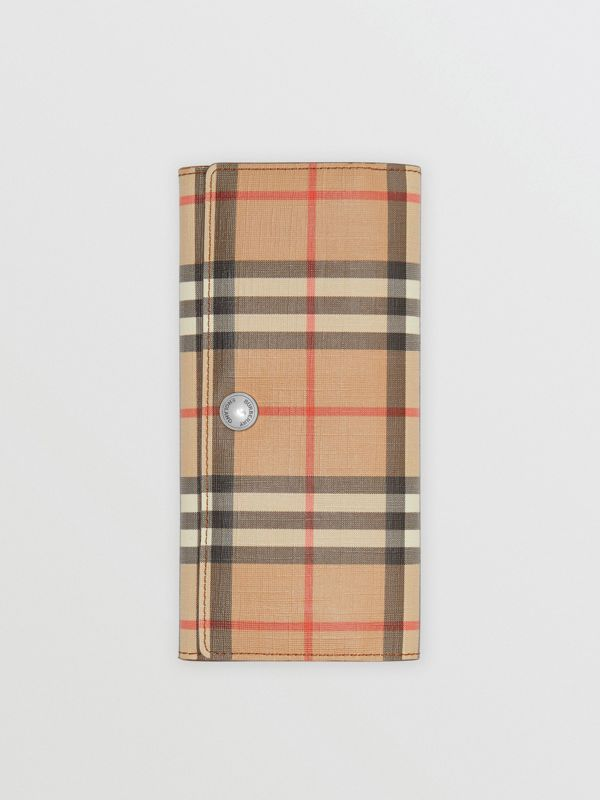 Vintage Check and Leather Continental Wallet in Malt Brown - Women | Burberry - cell image 3