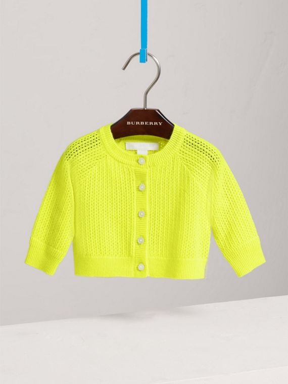 Open-stitch Knitted Cashmere Cardigan in Neon Yellow | Burberry - cell image 2